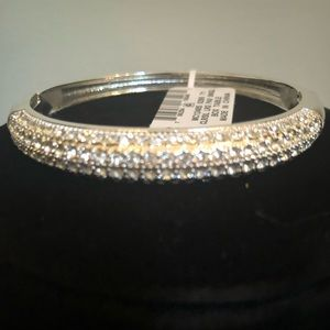 Clear crystals silver or gold pave bracelet.
